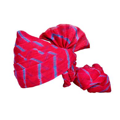 S H A H I T A J Traditional Rajasthani Jodhpuri Cotton Farewell/Retirement/Social Occasions Pink Lehariya Pagdi Safa or Turban for Kids and Adults (CT719)-ST839_22andHalf