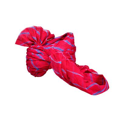 S H A H I T A J Traditional Rajasthani Jodhpuri Cotton Farewell/Retirement/Social Occasions Pink Lehariya Pagdi Safa or Turban for Kids and Adults (CT719)-18-4