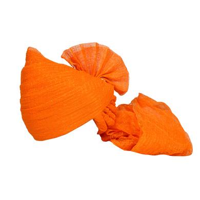 S H A H I T A J Traditional Rajasthani Jodhpuri Cotton Farewell/Retirement/Social Occasions Orange Kotadoriya Pagdi Safa or Turban for Kids and Adults (CT720)-ST840_22andHalf