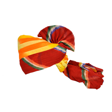 S H A H I T A J Traditional Rajasthani Jodhpuri Cotton Farewell/Retirement/Social Occasions Multi-Colored Pagdi Safa or Turban for Kids and Adults (CT721)-ST841_18andHalf