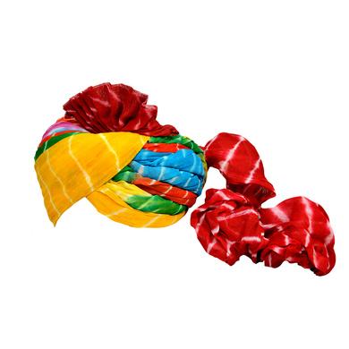 S H A H I T A J Traditional Rajasthani Jodhpuri Cotton Farewell/Retirement/Social Occasions Multi-Colored Lehariya Pagdi Safa or Turban for Kids and Adults (CT722)-18-3
