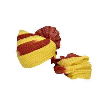 S H A H I T A J Traditional Rajasthani Jodhpuri Cotton Farewell/Retirement/Social Occasions Maroon & Cream Kotadoriya Pagdi Safa or Turban for Kids and Adults (CT725)-ST845_18andHalf