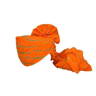 S H A H I T A J Traditional Rajasthani Jodhpuri Cotton Farewell/Retirement/Social Occasions Orange Lehariya Pagdi Safa or Turban for Kids and Adults (CT727)-ST847_22andHalf