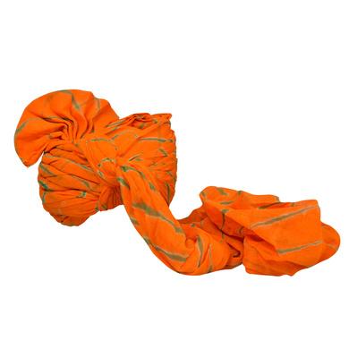 S H A H I T A J Traditional Rajasthani Jodhpuri Cotton Farewell/Retirement/Social Occasions Orange Lehariya Pagdi Safa or Turban for Kids and Adults (CT727)-18-4