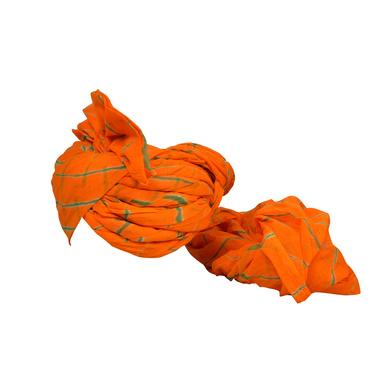 S H A H I T A J Traditional Rajasthani Jodhpuri Cotton Farewell/Retirement/Social Occasions Orange Lehariya Pagdi Safa or Turban for Kids and Adults (CT727)-18-3