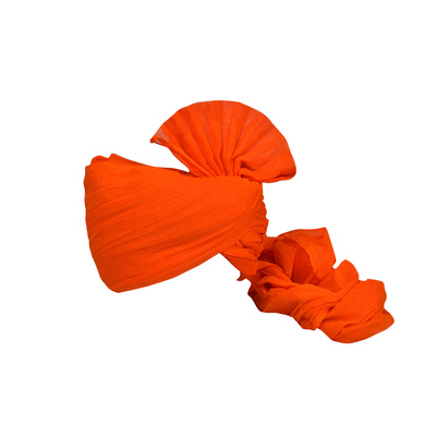 S H A H I T A J Traditional Rajasthani Jodhpuri Cotton Farewell/Retirement/Social Occasions Orange Pagdi Safa or Turban for Kids and Adults (CT728)-ST848_22andHalf