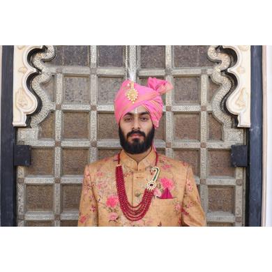 S H A H I T A J Traditional Rajasthani Wedding Pink Silk Jodhpuri & Udaipuri Pagdi Safa or Turban for Groom or Dulha (CT266)-ST346_21