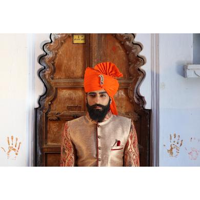 S H A H I T A J Traditional Rajasthani Wedding Barati Orange or Kesariya Cotton Jodhpuri & Rajputi Pagdi Safa or Turban with Brooch for Kids and Adults (CT162)-ST242_18