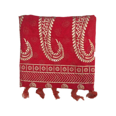 S H A H I T A J Traditional Rajasthani Red with Golden Foil Barati/Groom/Social Occasions Silk Pagdi Safa Turban or Pheta Cloth for Kids and Adults (CT747)-ST867