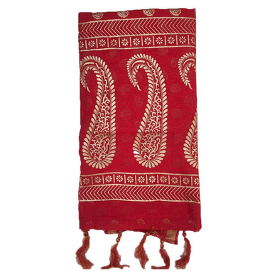 S H A H I T A J Traditional Rajasthani Red with Golden Foil Barati/Groom/Social Occasions Silk Pagdi Safa Turban or Pheta Cloth for Kids and Adults (CT747)-Free Size-1