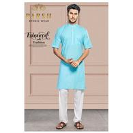 S H A H I T A J Traditional Blue Barati/Groom/Social Occasions Cotton Modi Kurta Pajama for Adults (MW762)