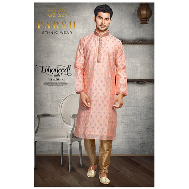 S H A H I T A J Traditional Peach Dotted Barati/Groom/Social Occasions Silk Kurta Pajama for Adults (MW763)-ST884_36