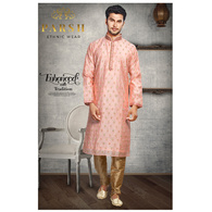 S H A H I T A J Traditional Peach Dotted Barati/Groom/Social Occasions Silk Kurta Pajama for Adults (MW763)