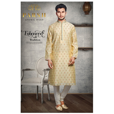 S H A H I T A J Traditional Golden Dotted Barati/Groom/Social Occasions Silk Kurta Pajama for Adults (MW764)-ST885_38