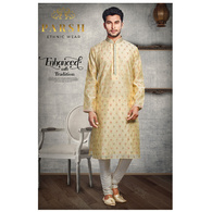S H A H I T A J Traditional Golden Dotted Barati/Groom/Social Occasions Silk Kurta Pajama for Adults (MW764)