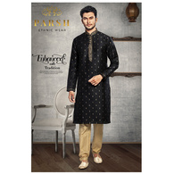 S H A H I T A J Traditional Black Dotted Barati/Groom/Social Occasions Silk Kurta Pajama for Adults (MW765)