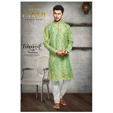 S H A H I T A J Traditional Green Dotted Barati/Groom/Social Occasions Silk Kurta Pajama for Adults (MW766)-ST887_36