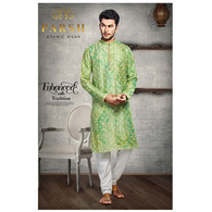 S H A H I T A J Traditional Green Dotted Barati/Groom/Social Occasions Silk Kurta Pajama for Adults (MW766)