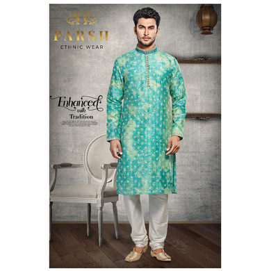 S H A H I T A J Traditional Multi-Colored Dotted Barati/Groom/Social Occasions Silk Kurta Pajama for Adults (MW767)-ST888_42