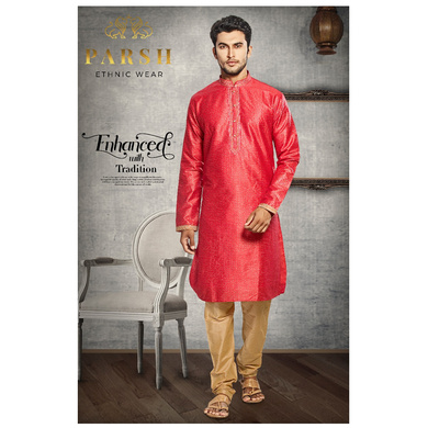 S H A H I T A J Traditional Red Dotted Barati/Groom/Social Occasions Silk Kurta Pajama for Adults (MW769)-ST890_36