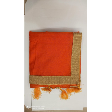 S H A H I T A J Traditional Rajasthani Wedding Orange Silk Stole/Dupatta/Shawl for Groom or Dulha (DS771)-Free Size-1