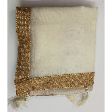 S H A H I T A J Traditional Rajasthani Wedding Off White Silk Stole/Dupatta/Shawl for Groom or Dulha (DS636)-ST761