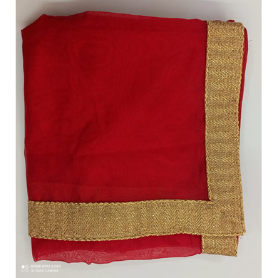 S H A H I T A J Traditional Rajasthani Wedding Red Silk Stall/Dupatta/Shawl for Groom or Dulha (DS552)-ST675