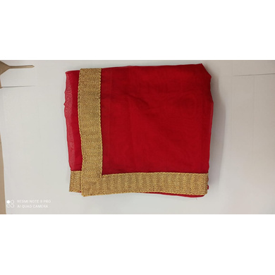S H A H I T A J Traditional Rajasthani Wedding Red Silk Stall/Dupatta/Shawl for Groom or Dulha (DS552)-Free Size-1