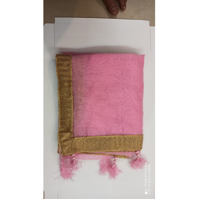 S H A H I T A J Traditional Rajasthani Wedding Baby Pink Silk Stole/Dupatta/Shawl for Groom or Dulha (DS797)-Free Size-1