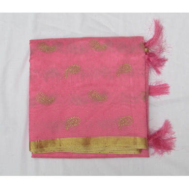 S H A H I T A J Traditional Rajasthani Pink Foil Barati/Groom/Social Occasions Faux Silk Pagdi Safa Turban or Pheta Cloth for Kids and Adults (CT776)-ST898