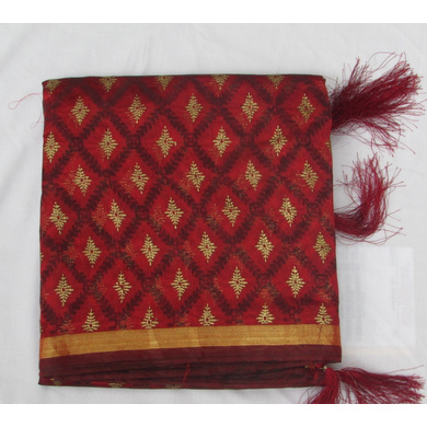S H A H I T A J Traditional Rajasthani Maroon Checkered Barati/Groom/Social Occasions Faux Silk Pagdi Safa Turban or Pheta Cloth for Kids and Adults (CT778)-ST900