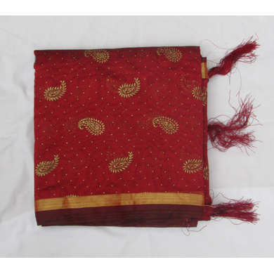 S H A H I T A J Traditional Rajasthani Maroon Foil Barati/Groom/Social Occasions Faux Silk Pagdi Safa Turban or Pheta Cloth for Kids and Adults (CT779)-ST901
