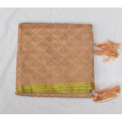 S H A H I T A J Traditional Rajasthani Peach Foil Barati/Groom/Social Occasions Faux Silk Pagdi Safa Turban or Pheta Cloth for Kids and Adults (CT783)-ST905