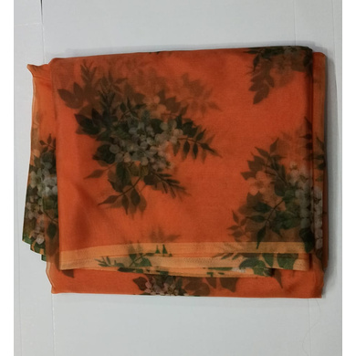 S H A H I T A J Orange Floral Barati/Groom/Social Occasions Organza Silk Pagdi Safa Turban or Pheta Cloth for Kids and Adults (CT785)-ST907
