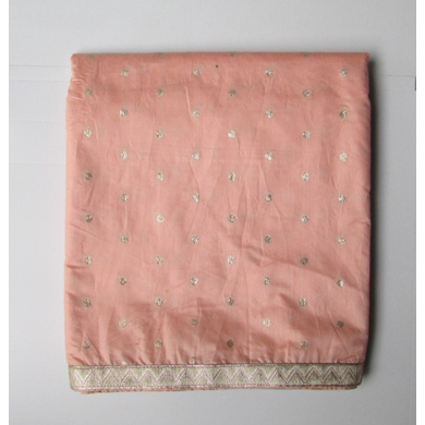 S H A H I T A J Peach Dotted Barati/Groom/Social Occasions Silk Pagdi Safa Turban or Pheta Cloth for Kids and Adults (CT788)-ST910