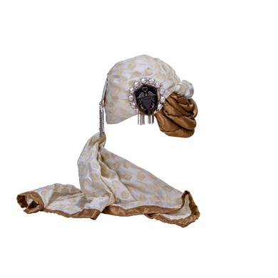 S H A H I T A J Designer White Brocade Silk Unisex Kids and Adults Pagdi Safa or Turban for Fashion Shows & Events (DT795)-ST917_18