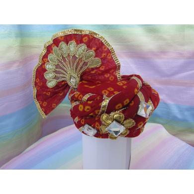 S H A H I T A J Traditional Rajasthani Red Bandhej Cotton Laddu Gopal Bhagwan ki Pagdi Safa or Turban for God's Idol/Kids/Adults (RT444)-ST580_Mini