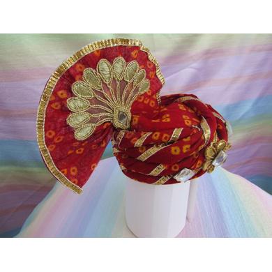 S H A H I T A J Traditional Rajasthani Red Bandhej Cotton Laddu Gopal Bhagwan ki Pagdi Safa or Turban for God's Idol/Kids/Adults (RT444)-For Miniature God's Idol (3 inches to 16 inches)-3