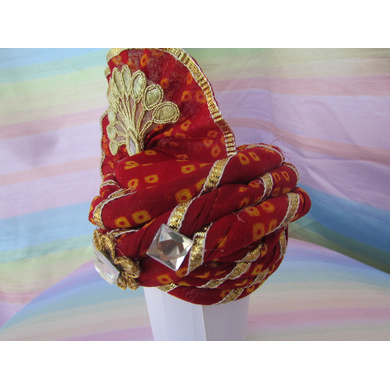 S H A H I T A J Traditional Rajasthani Red Bandhej Cotton Laddu Gopal Bhagwan ki Pagdi Safa or Turban for God's Idol/Kids/Adults (RT444)-For Miniature God's Idol (3 inches to 16 inches)-4