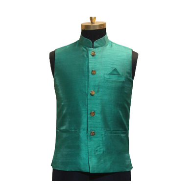 S H A H I T A J Traditional Barati/Groom/Social Occasions Silk Light Green Nehru Jacket or Kothi for Adults (MW802)-ST922_36