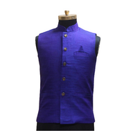 S H A H I T A J Traditional Barati/Groom/Social Occasions Silk Blue Nehru Jacket or Kothi for Adults (MW803)