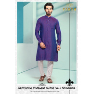 S H A H I T A J Traditional Barati/Groom/Social Occasions Linen Kurta with Pajama for Adults (MW804)