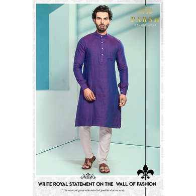 S H A H I T A J Traditional Barati/Groom/Social Occasions Linen Kurta with Pajama for Adults (MW804)-ST924_40