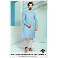 S H A H I T A J Traditional Barati/Groom/Social Occasions Linen Kurta with Pajama for Adults (MW805)