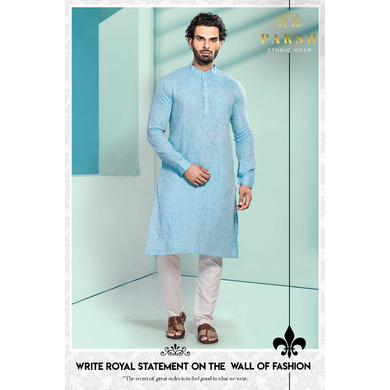 S H A H I T A J Traditional Barati/Groom/Social Occasions Linen Kurta with Pajama for Adults (MW805)-ST925_44