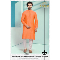 S H A H I T A J Traditional Barati/Groom/Social Occasions Linen Kurta with Pajama for Adults (MW806)