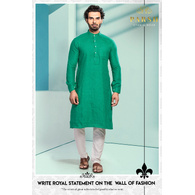 S H A H I T A J Traditional Barati/Groom/Social Occasions Linen Kurta with Pajama for Adults (MW807)
