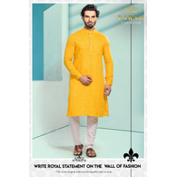 S H A H I T A J Traditional Barati/Groom/Social Occasions Linen Kurta with Pajama for Adults (MW808)