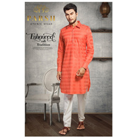 S H A H I T A J Traditional Barati/Groom/Social Occasions Pathani Cotton Kurta with Pajama for Adults (MW809)