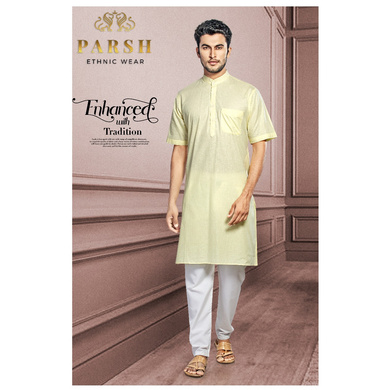 S H A H I T A J Traditional Barati/Groom/Social Occasions Half Sleeves Cotton Kurta with Pajama for Adults (MW810)-ST930_36